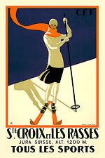 St Croix et les Rasses Vintage Art Déco Ski / Affiche de Voyage A1a2a3a4sizes