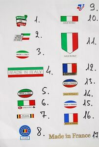 Made in Italy / Belgium France ,Tubing Decals Stickers 17 options on your choice