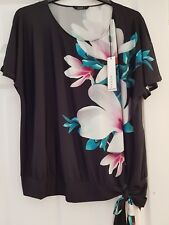 Size 18 Roman Originals Loose Fit Magnolia Placement Black Silky Top