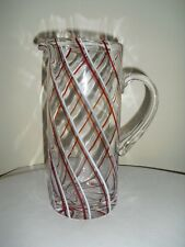 Candy Cane Swirl / Spiral Red & White Clear Glass Pitcher - 9-3/4""