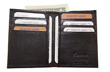 Mens Slim Leather Bi fold  Card Wallet Bill Compartment Front Pocket Black 021