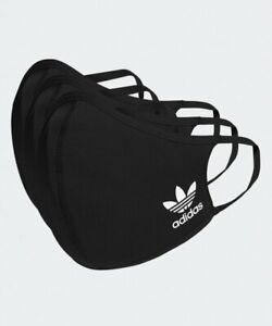 adidas HB7851 Face Cover Mask Facemask One Size Fits 3 Pack M/L Black