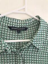 🎈 SPORTSCRAFT 100% SILK Floaty Green Geometric Modern Shirt Sleeveless Sz 16