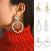 Fashion Women Pearl Circle Earrings Statement Crystal Drop Dangle Jewelry Gifts