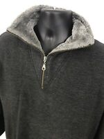 Belle Surprise 1/4 Zip Pull Over Soft Collar Ribbed Mens Size M Medium Gray Top