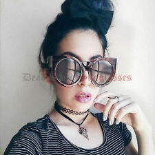TORTOISE Oversized ROUND CAT EYE Sunglasses womens rockabilly pin up girl gothic