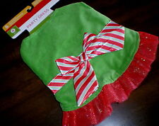 Dog HOLIDAY PARTY DRESS Costume L NEW Green & Red LARGE Ruffle Tulle Trim PET
