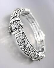 NEW Designer Antique Silver Floral Filigree CZ Crystals Stretch Bracelet
