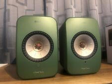 KEF LSX Wireless Bookshelf Speakers, Pair, Olive Green colour, Store Display