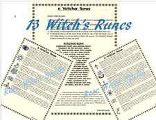 13 Witch's Runes Meaning Symbol Divination Info 3pg set fr Spell Book of Shadows