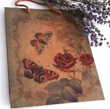 Large Kraft Paper Gift Bag Vintage Butterfly Shabby Chic Roses Garden Valentine'