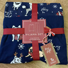 LADIES Blue DOGS FESTIVE XMAS CHRISTMAS SOFT PYJAMAS Pjs Size 8 NEW BNWT