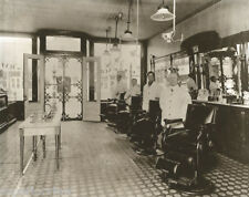 Vintage Barber Antique Barbershop Marble Sink Four Chairs No Waiting Barbers WOW