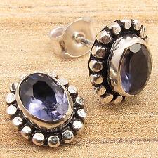 Natural IOLITE Gemstones Designer Little Stud Earrings Blue, 925 Silver Plated