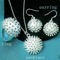 Fashion silver Beautiful women lady nice Ring Earring Necklace Set jewelry NEW