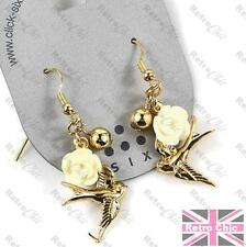 SWALLOW EARRINGS gold pltd RETRO LUCITE ROSE CABS bird charms BIRDS vintage styl