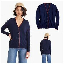 NWT $89.50 J.CREW Size S Merino Wool Tipped Cardigan NAVY/RED Style J5228