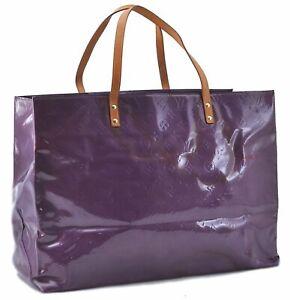 Authentic Louis Vuitton Vernis Reade GM Hand Bag Purple M91085 LV E2028