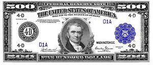 1918 &1934 $500, 1000, 5000, 10k bills, total of 8 bills x $8.00 ea = $64.00