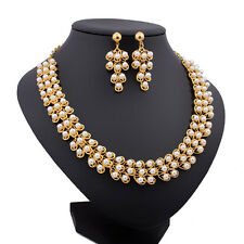 Fashion White Pearl Necklace Set Beads Bridal Gold Plated Wedding Jewelry Sets