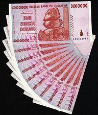10 x 5 Billion Zimbabwe Dollars Bank Notes AB 2008 10PCS ~ Currency = 50 Billion