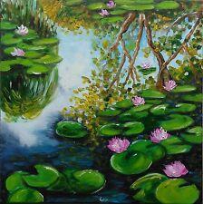 Peinture de CARIN 50x50 cm huile impressionnisme REFLETS ET NENUPHARS