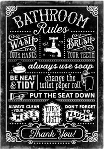 Bathroom Rules Sign Washroom Toilet Plaque Bathroom Decor Metal Sign