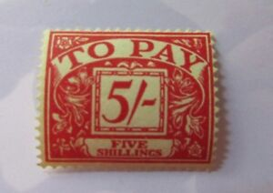 Great Britain SC Sc #J54 - SGD 55 - TO PAY - 1955 - Five shilling - MH stamp