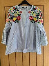 Zara Blue Stripe Floral Embroidered Detail Peplum Sleeve Jacket Size Small