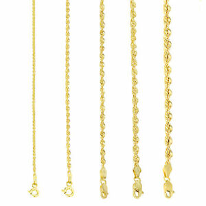 "14K Yellow Gold 1.5mm-4mm Italian Rope Chain Pendant Necklace Mens Women 16""-30"""