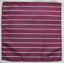 Hankie Pocket Square Handkerchief MENS Hanky BURGUNDY WHITE STRIPED