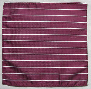 Hankie Pocket Square Handkerchief MENS Hanky BURGUNDY WHITE STRIPED