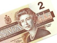 1986 Canada 2 Dollars BGW Uncirculated Canadian Thiessen Crow Banknote M936