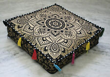 Indian Cushion Cotton Floor Pillow Cover with Zipper Ottoman Pouf Mandala Square