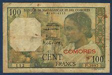 COMORES.100 FRS BANQUE des COMORES Pick n° 3b de 1960/63 en TB P.2997 112