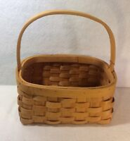"Basket 9"" X  7"" Woven Wood 5"" Drop Wood Handle"