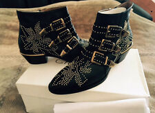CHLOE Susanna Gold Studded Buckled Black Leather Ankle Boots US Size 9.5 NEW Ita