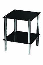 2-Tier fine tavolo con ripiani in vetro nero e cromo Telaio