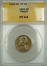 1953 Jefferson Nickel Coin ANACS Proof PF-64 Toned