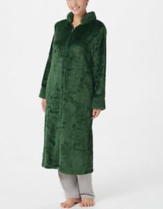 Stan Herman -Silky Shag Plush Petite or Regular Length Zip-Up Robe - Olive Green