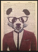 Panda Vintage Dictionary Page Print Wall Art Picture Hipster Quirky Animal Suit