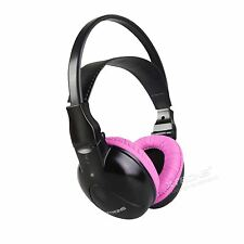 IR Wireless/Cordless Pink Kid Dual Channels Stereo Headphones For Car DVD Player