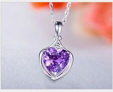 "18"" Sterling Silver Heart Cut Purple Amethyst Crystal Pendant Necklace Gift Box"