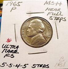 1965-P JEFFERSON NICKEL GEM+ BU/MS, 5-5-4-5 STEPS, ULTRA RARE, NICE SHARP, B181