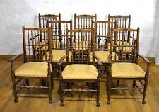 Antique vintage set of 8 carved turned spindle back carver dining chairs