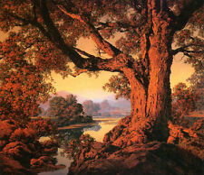 River Bank, Autumn  by Maxfield Parrish   Giclee Canvas Print Repro
