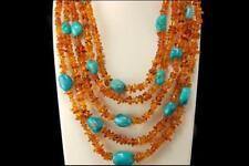 Vintage Natural Amber Turquoise 5 Strands Necklace D111-11