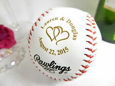 Personalized Engraved Baseball Bride Groom Anniversary Wedding Linked Hearts