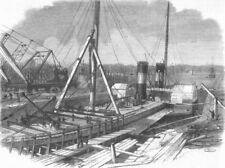CHESHIRE. Laird's dry docks, Birkenhead, antique print, 1861