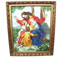 Vintage framed tapestry Handmade needlepoint Icon gobelin Jesus and children